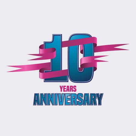 ten: Vector design for ten years anniversary celebration Illustration