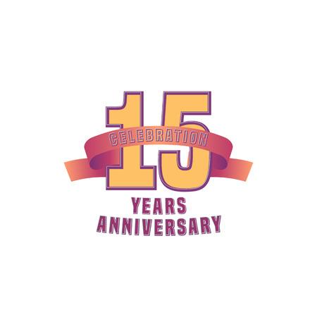 fifteen: Vector design for fifteen years anniversary celebration Illustration