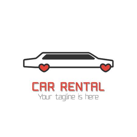limo: Car rental vector template label. Limo for wedding rental. Vector automotive design element
