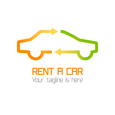 rental: Vector template of car rental company logo, rent-a-car. Automotive logo vector template design