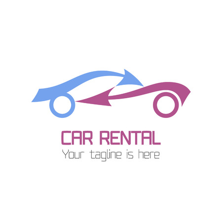 Vector car rentals label. Vector logo design template. Concept for automobile repair service, spare parts store