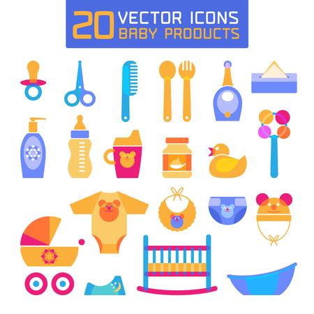teteros: Ilustración vectorial de productos para bebés. Los iconos de los recién nacidos