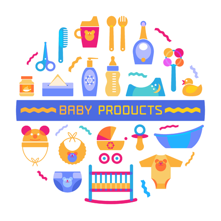 baby rattle: Baby design element with different products arranged in a circle and sign. Modern bright vector style