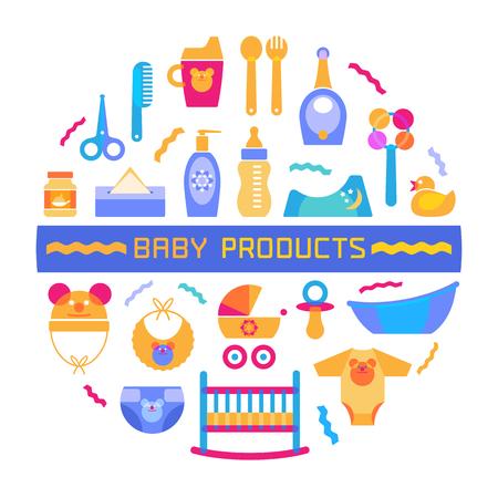 nacimiento bebe: elemento de diseño bebé con diferentes productos dispuestos en un círculo y signo. el vector de estilo moderno y luminoso