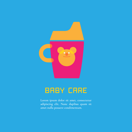 baby announcement: Illustration of sippy cup made in cute bright  style vector. Baby products concept. Design element, logotype or clipart for a shop, product or company