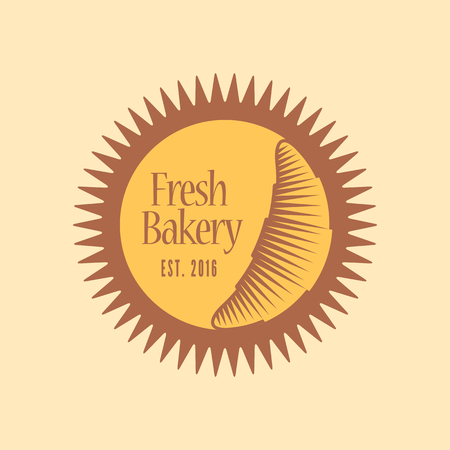 french cuisine: Vector logo, design element for bakery, French cuisine cafe. Sun and Moon signs Illustration