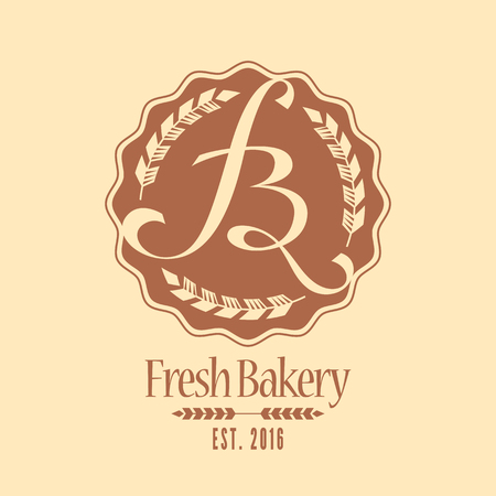 Vector logo, design element for bakery. Vintage style icon, sign 向量圖像