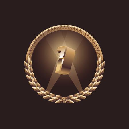 first place: aniversario primer año. Ganador. En primer lugar la celebración de diseño. logotipo del sello de oro, ilustración vectorial Vectores