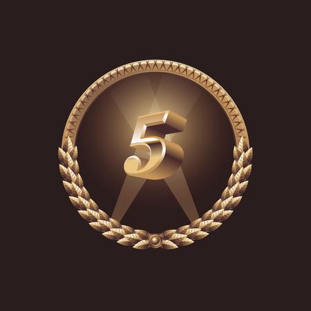 five years': Five years anniversary celebration design. Golden seal logo, vector illustration