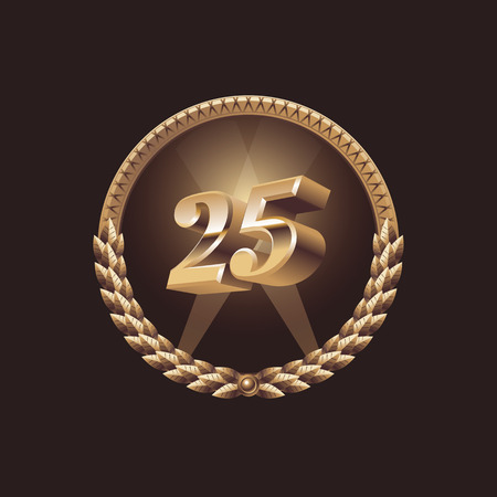 the twenty fifth: Twenty five years anniversary celebration design. Golden seal logo, vector illustration
