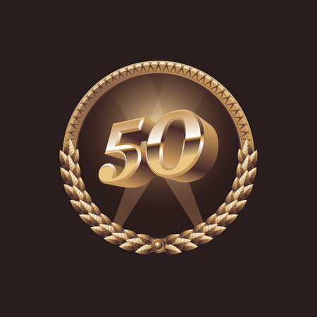 Fifty years anniversary celebration design. Golden seal logo, vector illustration