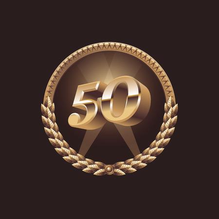 Cinquante ans de conception de célébration d'anniversaire. Logo du sceau d'or, illustration vectorielle Logo