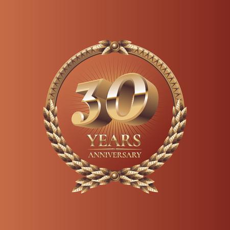 thirty: Thirty years anniversary celebration design. Golden seal logo, vector illustration