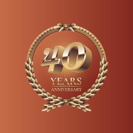 forty: Forty years anniversary celebration design. Golden seal logo, vector illustration Illustration