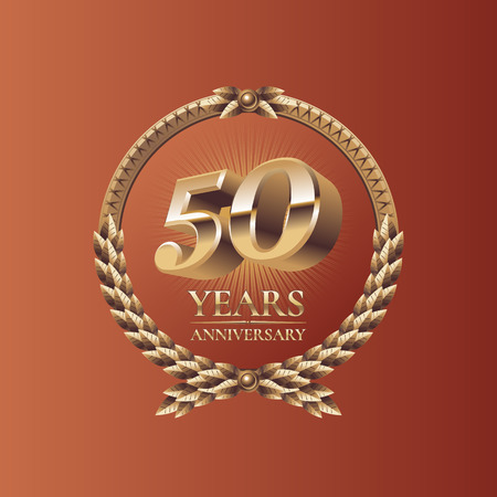 the fiftieth: Fifty years anniversary celebration design. Golden seal logo, vector illustration