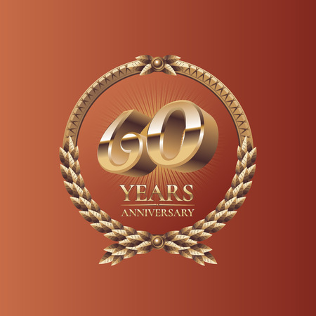 sixtieth: Sixty years anniversary celebration design. Golden seal logo, vector illustration