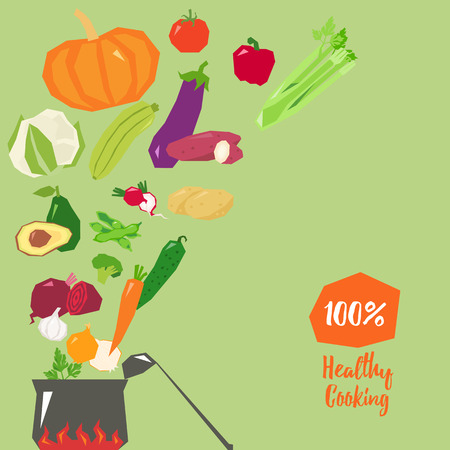 cucurbit: Healthy cooking concept vector illustration with cute pot
