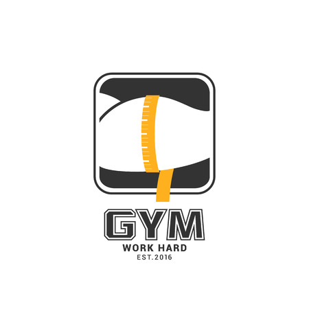 measured: Gym, sport club vector logo template, muscle measured Illustration