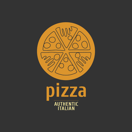 grabbing: Vector logo, design element for pizza, pizzeria, pizza delivery, Italian restaurant. Hands grabbing slices of pizza Illustration