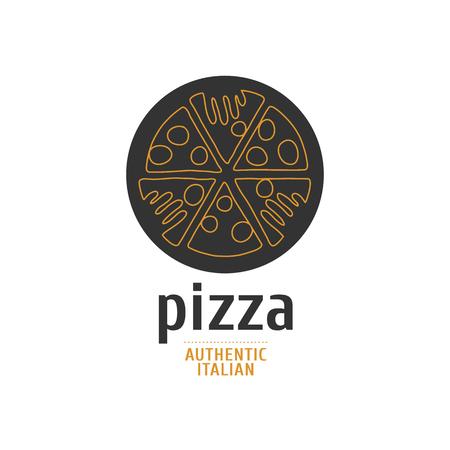 Vector logo, design element for pizza, pizzeria, pizza delivery, Italian restaurant. Hands grabbing slices of pizza Иллюстрация