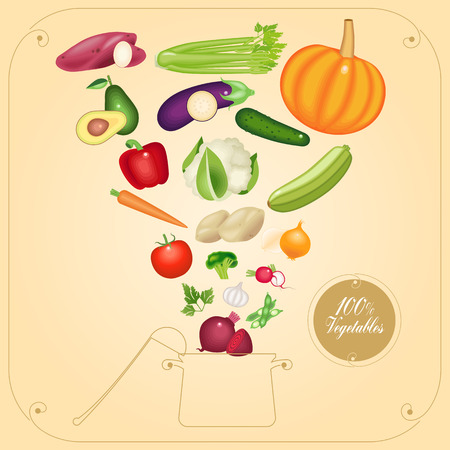 cucurbit: Healthy vegetarian cooking concept vector illustration. Soup cooking illustration