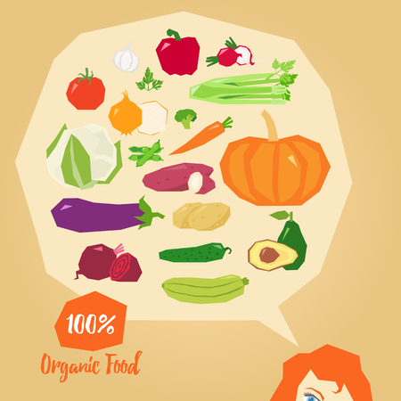 carefully: Organic food, delicious vegetables vector illustration with lady carefully thinking of the natural food Illustration