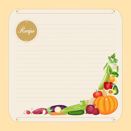 recipe card: Blank recipe card template in vector format with delicious vegetables
