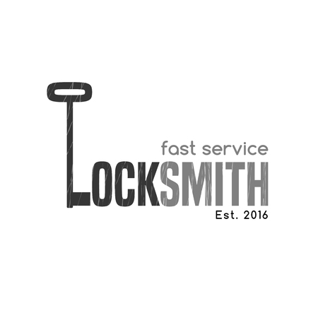 shaping: Locksmith vector logo, icon. Key is shaping letter L