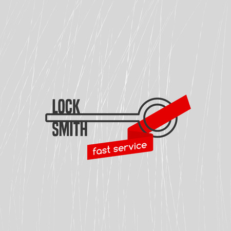 locksmith: Locksmith vector logo, icon. Locksmith word is a part of key shape