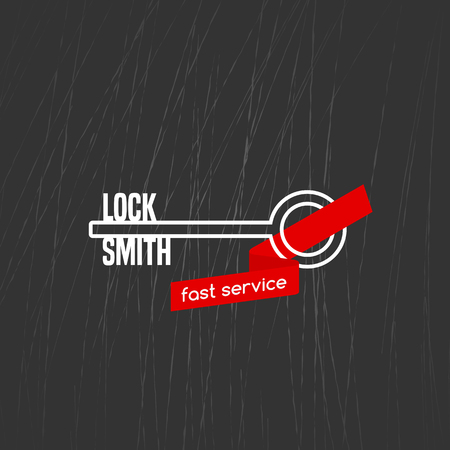 Locksmith vector logo, icon. Locksmith word is a part of key shape