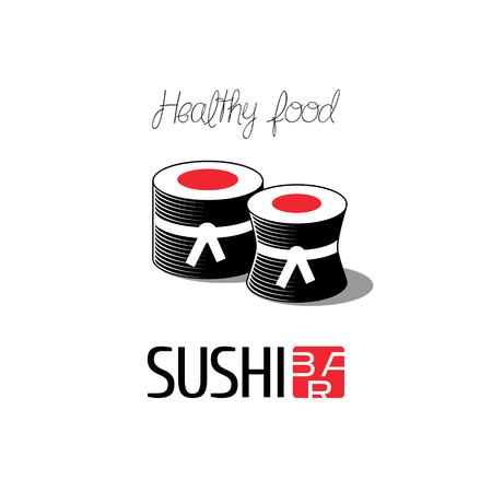 sushi roll: Vector logo, design element for sushi restaurant, Japanese cuisine