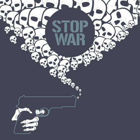 skeleton hand: Stop war concept vector illustration. War gun with skeleton hand Illustration