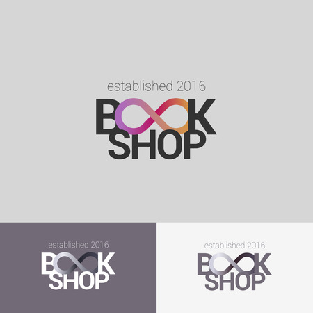 infinity sign: Bookstore vector logo set template with infinity sign