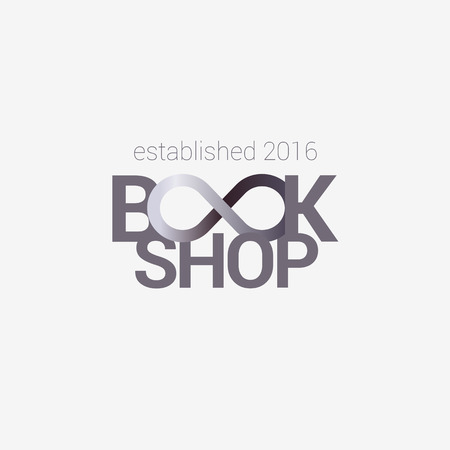 bookstore: Template vector logo for bookstore with infinity sign