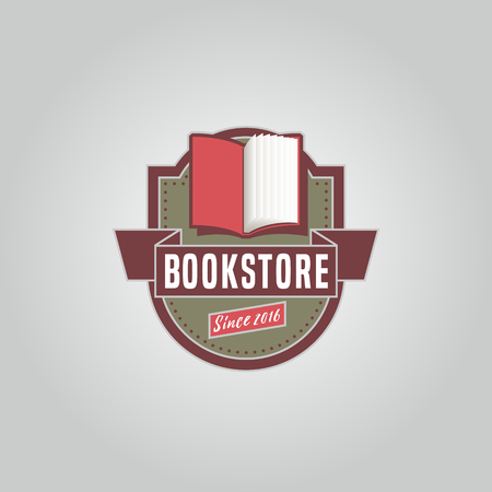 bookstore: Bookstore or library vector logo template in vintage style