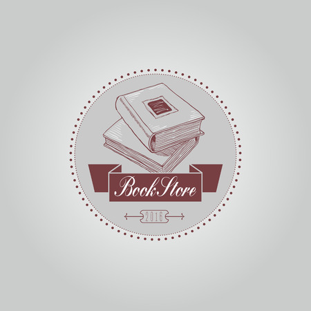 bookstore: Bookstore or library vector logo template in vintage thin line style