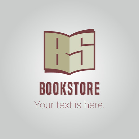 bookstore: Template vector logo for bookstore with capital letters in the open book