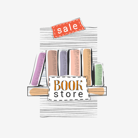 bookshop: Vector hand drawn illustration and poster for bookstore sale