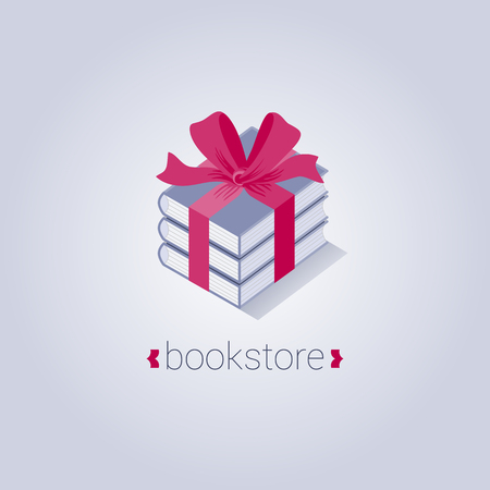 presents: Bookstore vector logo template with flat icon