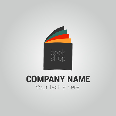 bookstore: Bookstore or library vector logo template with open book Illustration