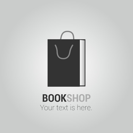 bookstore: Bookstore vector logo template with paper bag