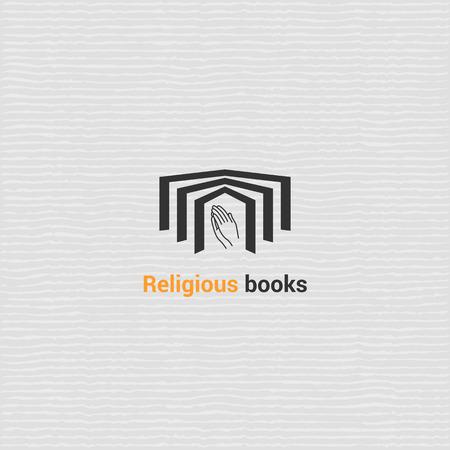 Libreria template vettoriale logo con il libro aperto. Icona di vettore per il reparto in libreria - Libri religiosi