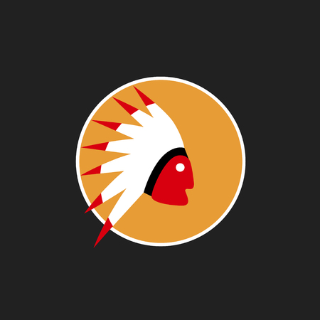 bonnet: Vector avatar of American Indian with traditional war bonnet. Isolated background