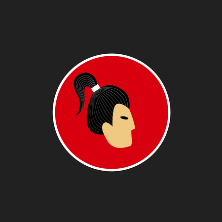 hairdress: Vector avatar of Japanese man with traditional hairdress. Isolated background Illustration