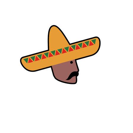 trajes mexicanos: avatar del vector del hombre mexicano en el sombrero. fondo blanco aislado