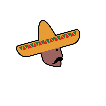 mexican sombrero: Vector avatar of Mexican man in sombrero. Isolated white background