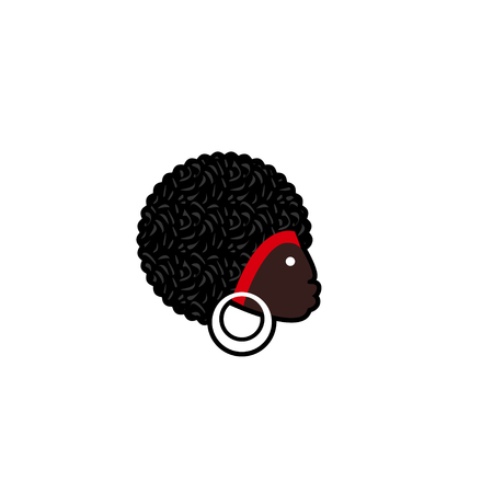 ethnographic: Vector avatar of African woman with traditional hairdress. Isolated white background