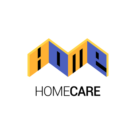 volumetric: Home repair vector template logotype, icon, badge, emblem with volumetric objects