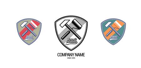 logotypes: Set of repair service vector logotypes, badges, emblems Illustration