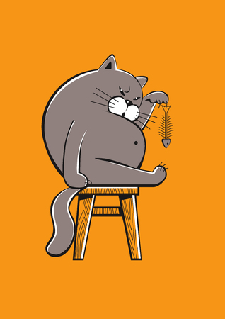 Funny fat cat finishing a fish, vector format Illustration